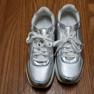 Zara Basic Collection Silver Metallic Sneakers